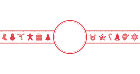 Concept of greeting card with Christmas decorations and copyspace. Vector. Vettoriali