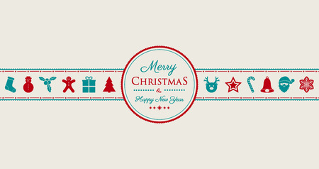 Concept of Christmas card with decorations. Vector.