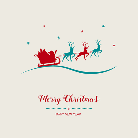 Christmas card with with cartoon Santa Claus. Vector. Vettoriali