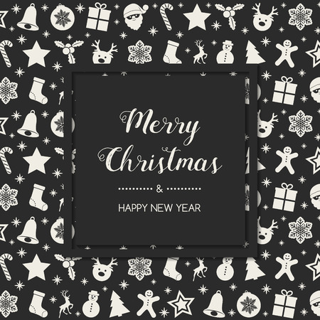 Christmas card in retro style with festive elements. Vector. Vettoriali