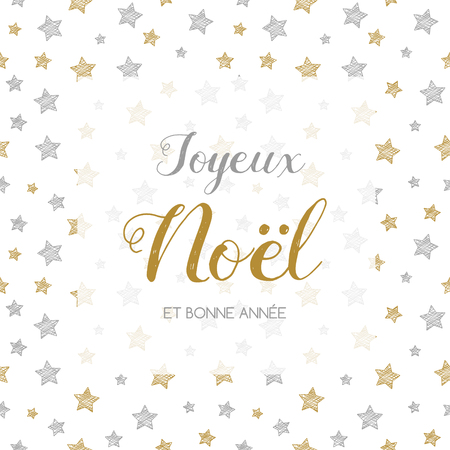 Joyeux Noel et Bonne Annee - french Christmas wishes. Vector