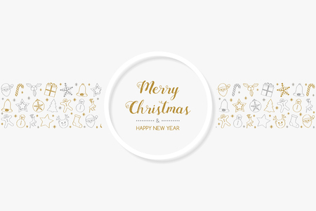 Christmas greetings with cartoon decorations. Vector.