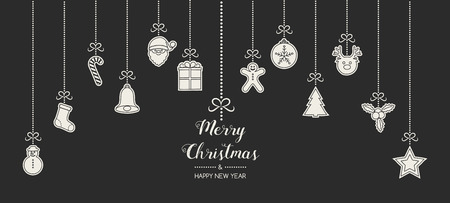 Design of Christmas banner with wishes and hand drawn ornaments. Vector. Vettoriali