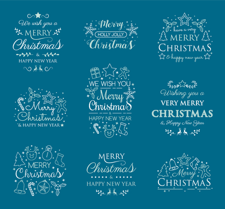 Collection of Christmas calligraphy with decorations. Vector.