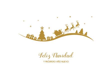 Feliz Navidad y Prospero Ano Nuevo - hiszpańskie życzenia świąteczne. Wektor.