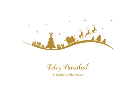 Feliz Navidad y Prospero Ano Nuevo - spanische Weihnachtswünsche. Vektor.
