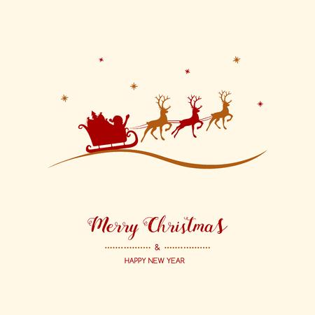 Christmas greetings with cartoon  Santa Claus. Vector. Vettoriali