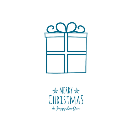 Merry Christmas and Happy New Year - card with hand drawn gift. Vector. Archivio Fotografico - 126991567