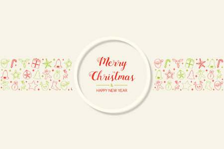 Concept of Christmas card with hand drawn ornaments. Vector.