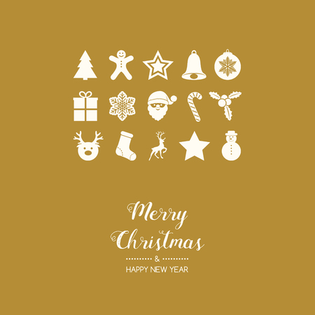 Christmas greetings with decorations. Vector. Vettoriali