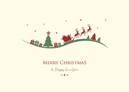 Weihnachtsgrüße mit Cartoon Weihnachtsmann. Vektor.