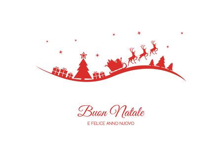 Buon Natale - translated from italian as Merry Christmas. Vector Illustration