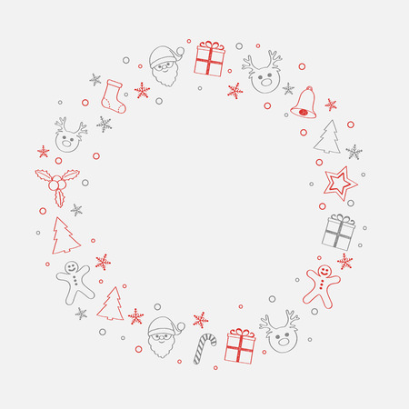 Concept of Christmas background with wreath and decorations. Vector.