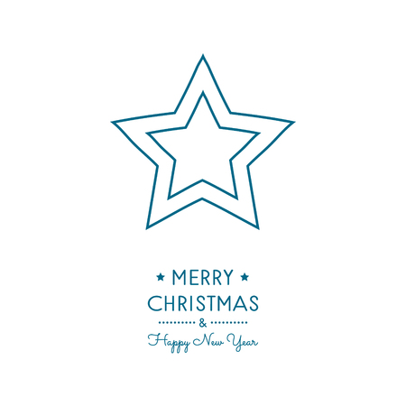 Concept of Christmas card with hand drawn star. Vector.