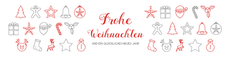 Frohe Weihnachten - translated from german to as Merry Christmas. Vector.