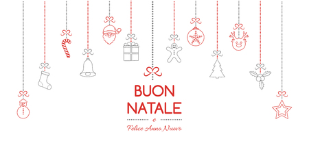 Buon Natale - translated from italian as Merry Christmas. Vector Vettoriali