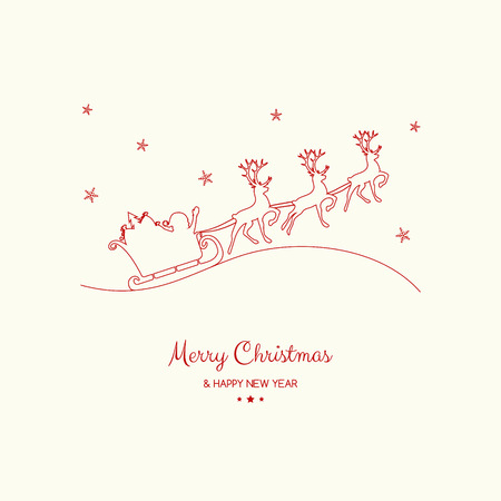 Christmas wishes - hand drawn greeting card with Santa Claus. Vector.