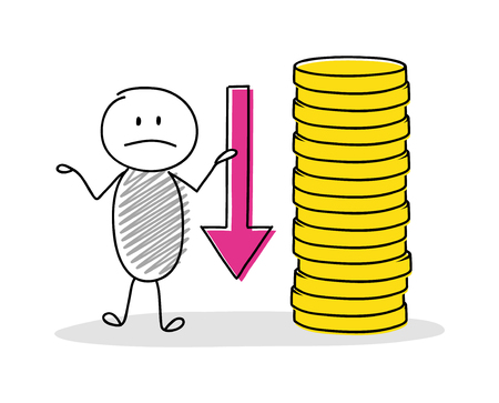 Funny cartoon character holding money stack. Vector.