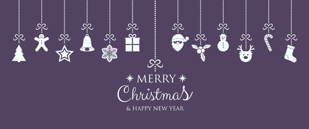 Beautiful Christmas card with hanging decorations. Vector.