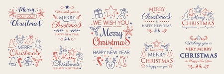 Set with Christmas decorations and greetings. Vector. Illustration