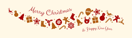 Christmas typography with decorative ornaments. Vector.