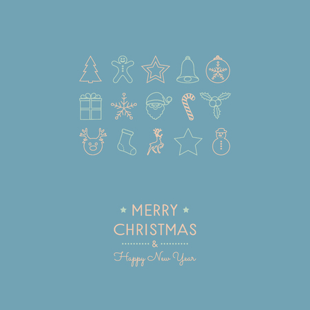 Christmas greetings with hand drawn decorations. Vector. Archivio Fotografico - 126910304