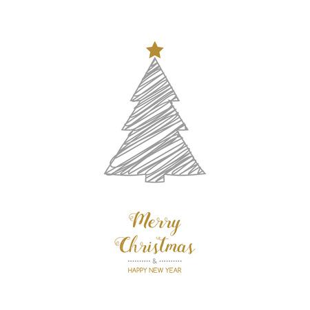 Christmas tree - hand drawn greeting card. Vector.