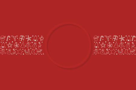 Template of Christmas card with festive decorations. Vector.