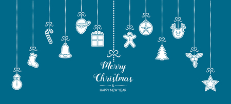 Christmas decoration with hanging elements. Vector. Vettoriali
