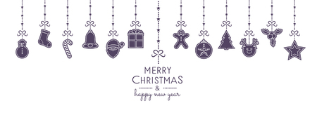 Christmas ornament with hanging elements. Vector.