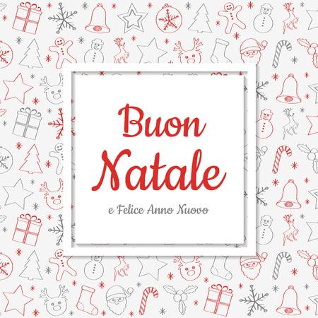 Buon Natale - translated from italian as Merry Christmas. Vector Ilustração