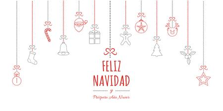 Feliz Navidad - translated from spanish as Merry Christmas. Vector Illustration