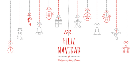 Feliz Navidad - translated from spanish as Merry Christmas. Vector Иллюстрация