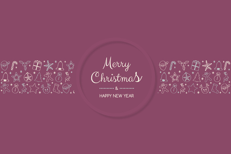 Christmas card in retro style with festive elements. Vector.