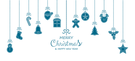 Concept of Christmas greeting card with hanging decorations. Vector.
