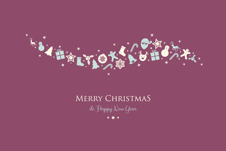 Concept of Christmas greeting card with hand drawn decorations. Vector. Archivio Fotografico - 126780075