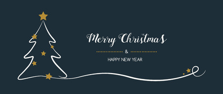 Vintage Christmas banner with hand drawn tree. Vector.