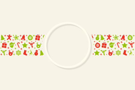 Design of Christmas greeting card template with with wreath and decorations. Vector. Archivio Fotografico - 126780117