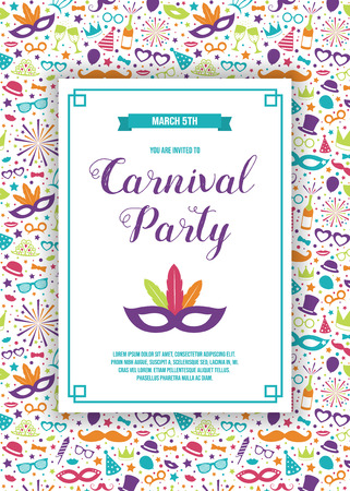 Colorful Carnival Party invitation with text and confetti. Vector