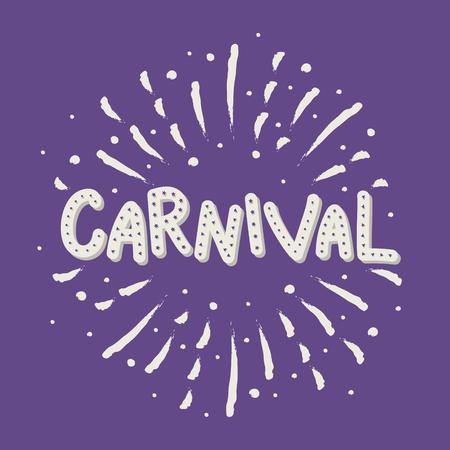 Concepto de caligrafía de Carnaval con fuegos artificiales dibujados a mano. Vector Ilustración de vector
