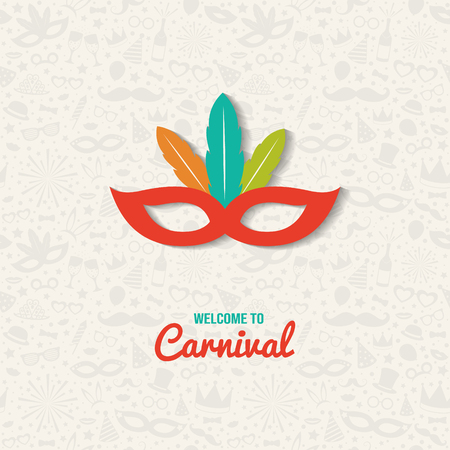 Carnival - colorful card with mask. Vector Illustration