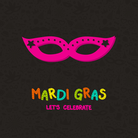 Mardi Gras greeting card with colorful hand drawn mask. Vector Illustration