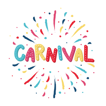 Carnival greeting card with colorful fireworks. Vector