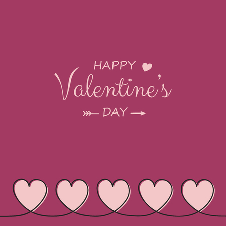 Design of Valentines Day greeting card with cartoon hearts. Vector