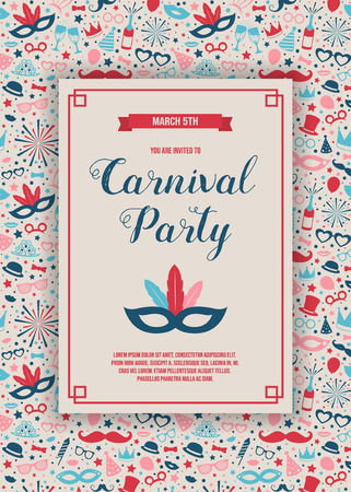 Carnaval Party invitation card with funny decorations. Vector. Stock Illustratie