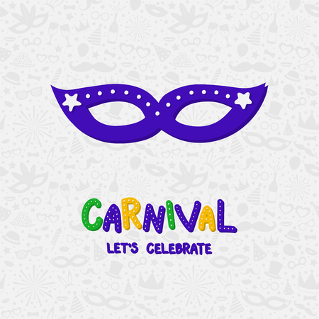 Concept of Carnival parade poster with mask. Vector