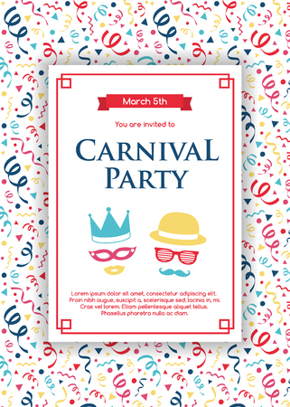Concept of Carnival Party invitation card with colorful background. Vector Illustration