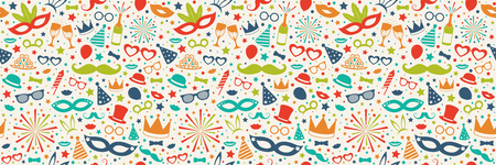 Concept of seamless pattern with party decorations. Vector