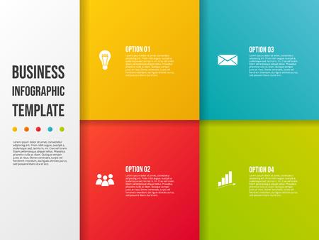 Plantilla de infografía de empresa con iconos de negocios. Vector