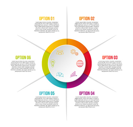 Colorful chart with business symbols - infographic template. Vector